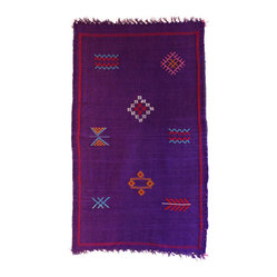 Kilim Carpet - Add vibrant color to your life and decor with this this Moroccan Berber rug. The striking hues and simple pattern give your room a unique, modern look.