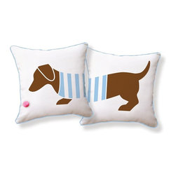 Naked Decor - Playful Doxie Pom-Pom Ball Pillow - Your dog-loving home is simply incomplete without a pop of playful doxie design. Add this two-sided pillow to your sofa or bed for an adorable finishing touch. The striped sweater combines just the right design statement with this already iconic breed.