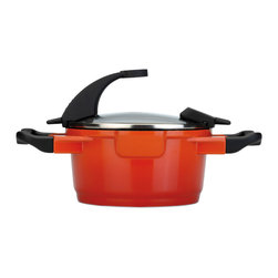 "Berghoff - Berghoff Virgo Stock Pot 2.9 qt. - 8"" Covered Casserole with glass cover holds 2.9 qts. Has cast aluminum body for fast and equal heat distribution. Contains a 3-layer Ferno ceramic coating making it non-stick, eco-friendly, and safe (PFOA and PTFE free). Glass lid with black silicone handles. Features a built in resting place to set the lid into instead of trying to decide what to do with it when you are tending to the contents in the pan.  Pouring off liquids while the cover remains on the pot is possible thanks to the special holes in the rim. Color: Orange with red shadow."