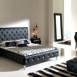 Made in Spain Leather Modern Design Bed Set with Extra Storage - Modern bedroom set in black leather. The Platform Bedroom Set from the Dupen Bedroom Collection will create a visual fantasy in your bedroom using traditional shapes in the modern interpretation.