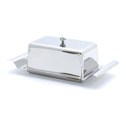 Cuisinox - Cuisinox Covered Butter Dish - A dazzling way to top off your formal table, this striking covered butter dish holds an entire pound of butter or a block of cream cheese. Crafted from high quality stainless steel, it has sides handles and a cover knob for easy manipulation.