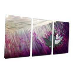Miles Shay - Metal Wall Art Decor Abstract Contemporary Modern- Ethereal Purple Lotus - This Abstract Metal Wall Art & Sculpture captures the interplay of the highlights and shadows and creates a new three dimensional sense of movement as your view it from different angles.