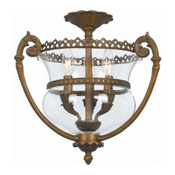 Crystorama - Crystorama Camden Bowl Pendant Light in Antique Brass - Shown in picture: Ornate Hanging Fixture with Mellon Jars; Camden Collection offers a mix of traditional bell jar lanterns - flush and semi flush mounts.