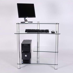 Clear Glass And Aluminum Computer Desk -