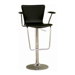 Baxton Studio - Black Bonded Leather Adjustable Bar Stool - Give this adjustable leather bar stool a whirl and add modern style to your kitchen or bar. The durable steel frame will last for years, and you won't want to sit anywhere else once you've tried the ergonomic leather seat. Plus, the gas lift is a kick.