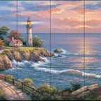 The Tile Mural Store (USA) - Tile Mural - Sk - Sunset At Lighthouse - Kitchen Backsplash Ideas - This beautiful artwork by Sung Kim has been digitally reproduced for tiles and depicts a lighthouse near sunset.  Our lighthouse tile murals and nautical themed decorative tiles are perfect as part of your kitchen backsplash tile project or your tub and shower surround bathroom tile project. Lighthouse images on tiles add a unique element to your tiling project and are a great kitchen backsplash idea. Use a lighthouse scene tile mural for a wall tile project in any room in your home where you want to add interest to a plain field of wall tile.