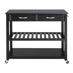Crosley Furniture - Solid Black Granite Top Kitchen Cart in Black - Solid black granite top. Hand rubbed and multi-step finish. Raised panel drawer front. Brushed nickel hardware. Adjustable and removable shelf. Towel bar. Heavy duty caster for mobility. Warranty: 90 days. Made from solid hardwood, veneers and solid granite. 42 in. W x 18 in. D x 36 in. H (125 lbs.). Assembly instructions - Kitchen cart/ IslandThis mobile kitchen cart is designed for longevity. The handsome raised panel drawer fronts provide the ultimate in style to dress up any culinary space. Two deep drawers are great for holding essential items, such as utensils or storage containers. Remove the shelf completely to allow for storing larger objects. When the cabinet is where you want it, simply engage the locking casters to prevent movement. Style, function, and quality make this mobile solution a wise addition to your home.