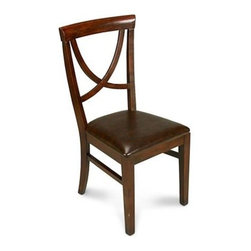 "Sarreid Ltd - Monet's Chairs, Set of Four - The Monet's Dining Side Chairs of Oak with Dark Brown Faux Leather are classic old world antique finish. Inspired by the Bentwood chairs found in the late 19th c. Designed for comfort. Sold as set of 4; additional chairs sold in sets of 2 (contact BSEID for more info). 18 1/2"" wide x 20""deep x 37"" high. Seat height 18 1/2"". (SAR)"