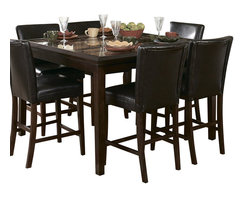 Homelegance - Homelegance Belvedere 8 Piece Counter Height Dining Room Set - The beveled wood edge of these burnished espresso finished tables softens the transitional Belvedere collection. Inset display shelving and decorative faux marble inlay further compliment the design.