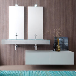 Azzurra - Azzurra | Azzurra Cosmopolitan 09 Vanity Set - Made in Italy by Azzurra.A part of the Cosmopolitan Collection. The Azzurra Cosmopolitan 09 Vanity Set presents an intriguing focal point in modern bathrooms in need of an easy upgrade. This all-inclusive set instantly reinvents the look and feel of any bath space. Complete with two sinks, two mirrors, and two large drawers; this compact vanity was made for bathrooms with multiple users. Select the optional lighting components that add function and beauty to the standard pieces in this set. Product Features: