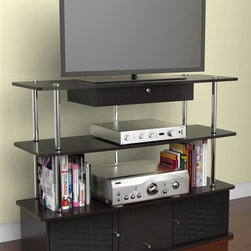 Convenience Concepts - Aspen Corner TV Stand - Open and modern design. Three spacious storage compartments and enclosed cabinets. Woven bamboo doors. Stainless steel poles. Limited warranty. Made from painted wood. Black finish. Assembly required. 47.2 in. W x 15.7 in. D x 36 in. H (68 lbs.)
