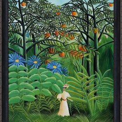 overstockArt.com - Rousseau - Woman Walking in an Exotic Forest - Enjoy Henri Rousseau's beautiful display of naive jungle themes, Woman Walking in an Exotic Forest. Today it has been hand painted on canvas, color for color and detail for detail. Henri Julien Felix Rousseau was a French Post-Impressionist painter. Also known as Le Douanier (the customs officer), he was a tax collector. Ridiculed during his life, he came to be recognized as a self-taught genius.