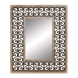 "Benzara - Long Lasting Wood Frame High Quality Mirror - Long Lasting wood frame high quality mirror. A high quality mirror attached to the middle of the wooden frame with amazing designs around it, is perfect for you to see your reflection. It comes with a following dimensions 40""W x 1""D x 50""H."