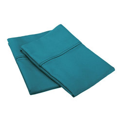 800 Thread Count King Pillowcase Set Solid Cotton Rich - Teal - Dress up your bedroom decor with this luxurious 800 thread count Cotton Rich pillowcase set. A superior blend of materials makes these pillowcases soft, easy to care for and wrinkle resistant.