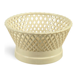 Basket Weave Fruit Bowl - The basket weave pattern on this fruit bowl offers functionality and visual interest. At 10.5 inches long, this bowl will hold all your favorite fruit. Set it on your dining table, your coffee table or your kitchen counter and your fruit is within easy reach while not sacrificing decor. Made of stoneware, this bowl also works well with decorative contents such as seashells, pretty rocks or lemons.
