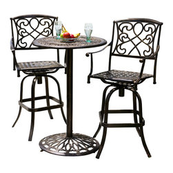Great Deal Furniture - Paris Cast Aluminum Outdoor Bistro Set - Perfect for breakfast on the patio for creating an intimate seating area in your garden, the Paris Cast Aluminum Bistro Set makes a wonderful choice. This set lends a dash of elegance to your patio with its elaborate patterned design. Crafted from cast aluminum, this bistro set will last for many years to come. A unique, antique copper finish sets this set apart from the rest. It assembles easily and includes rust-resistant stainless steel hardware. A romantic European look that will enhance your outdoor living space.