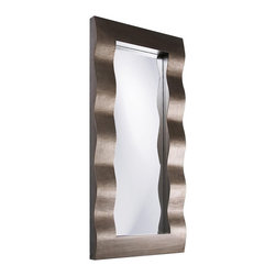 Howard Elliott - Meridien Bright Silver Mirror - The Meridien Mirror features a wide rectangular frame designed with a Contemporary 3-D wave and finished in a bright silver leaf.