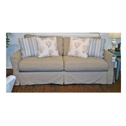 """Slipcovered Furniture - Classic Flared Arm Dana Point Grande Slipcovered Sofa, Styled for Relaxed Casual Living Available in an array of Soft 100% Natural Cotton, Linen and Hemp Fabrics. Dimensions: 93""""w x 41""""d x 38""""h"""