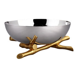 "L'Objet - L'Objet Bambou Large 24K Gold-Plate Bowl - L'Objet is best known for using ancient design techniques to create timeless, yet decidedly modern serveware, dishes, home decor and gifts. Stainless SteelHand-Antiqued Brass24K Gold-PlatingPlease Hand WashLuxuriously Gift Boxed. Suede Storage Bag IncludedMeasures: 12"" Diameter This collection combines organic elements with sleek silhouettes to create a modern statement. Each unique bamboo accent is hand-gilded with 24K gold and soldered with sterling silver."
