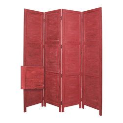 Nantucket Screen, Red - Nantucket 4 Panel Floor Screen has a frame and panels of solid cedar wood that is stained in a washed soft green. This handmade Floor Screen is finished on both sides