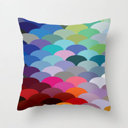 Scale Spectrum Pillow Cover in Cool - Celebrate color with this remarkable fish scale–patterned pillow cover. Whether you're decorating in a maritime theme or just love this pillow for its riot of hues, it'll be a bright spot in your home.