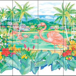 The Tile Mural Store (USA) - Tile Mural - Flamingo Island - Kitchen Backsplash Ideas - This beautiful artwork by Paul Brent has been digitally reproduced for tiles and depicts a colorful flamingo scene.  Images of waterfowl on tiles are great to use as a part of your kitchen backsplash tile project or your tub and shower surround bathroom tile project. Pictures of egrets on tile, images of herons on tile and decorative tiles with ducks and geese make a great kitchen backsplash idea and are excellent to use in the bathroom too for your shower tile project. Consider a tile mural of water fowl for any room in your home where you want to add interesting wall tile.