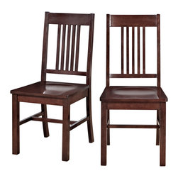 Walker Edison - Cappuccino Wood Dining Chairs, Set of 2 - These delightful wood dining chairs are an irresistible addition to any dining room, kitchen, or sitting area. The rich cappuccino finish and clean lines together offer a classic, polished look. Constructed of solid wood and high-grade MDF, these chairs offer comfort and stability.