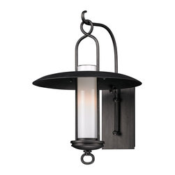 Troy Lighting - Graphite Carmel 1 Light 18 Outdoor Wall Lantern Sconce - The Carmel Collection features wide brimmed rain shades, wrought iron hangers and beautiful Opal White glass diffusers.