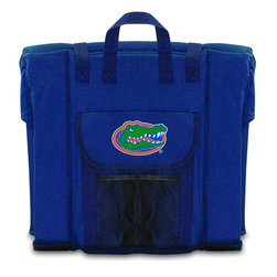 Picnic Time - University of Florida Stadium Seat in Navy - The Stadium Seat is ideal for anyone who enjoys sporting events, concerts, or other arena activities. This padded seat is made of durable 600D polyester and provides maximum seat support, which is especially useful when sitting on hard bleacher seats or benches. EPE foam in the seat's core also insulates your seat from cold bleachers. A large zippered pocket keeps all of your essentials within reach. Convenient carry straps allows the seat to be carried as a folded tote. You'll want to take the Stadium Seat to every spectator event to ensure your seating comfort.; College Name: University of Florida; Mascot: Gators; Decoration: Digital Print