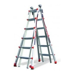 Little Giant Ladders - When used correctly, the Little Giant Classic is the strongest, safest, most versatile ladder in the world. The Classic's patented Triple-Lock Hinge and telescoping sides make it a true multi-use ladder. In fact, the Classic Model 17 can be used in 24 unique configurations, as an A-frame, extension, staircase and 90-degree ladder, and as a trestle-and-plank scaffolding system. You will enjoy an unmatched feeling of safety and stability on the Little Giant Classic. It is constructed of heavy wall, aerospace-grade aluminum, and its wide-flared legs give it a feeling of stability you cannot get with a traditional A-frame or extension ladder. The Little Giant Classic Model 17 is rated to hold 300 lbs. on both sides and is a true two-person ladder.