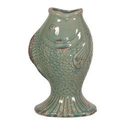 Howard Elliott - Howard Elliott Sea Blue Glaze with Rustic Accents Ceramic Fish Vase - Sea Blue Glaze w/ Rustic Accents Ceramic Fish Vase.