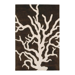Thomas Paul Coral Brown-Cream Rug - 3' x 5' - Thomas' concept is simple The design concept is to mix unrelated historic design styles - art nouveau, 60's pop art, 70's minimalism, 18th Centurn Baroque - and reinterpret these disparate periods into a unique style with coordinated color palette that works with today's interiors. Price points are accessible to attract a stylish and design driven youth.