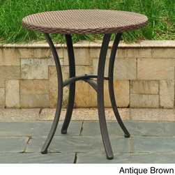 International Caravan - International Caravan Barcelona Resin Wicker/Aluminum 28-inch Round Outdoor Bist - Add an accent table or make a patio bistro set with this round outdoor Barcelona side table. This versatile table will compliment any style,highlighting a UV resistant resin wicker and aluminum frame construction.