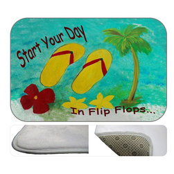 """USA - Flip Flops Start Yuor Day,  20"""" X 15"""" - Bath mats from my original art and designs. Super soft plush fabric with a non skid backing. Eco friendly water base dyes that will not fade or alter the texture of the fabric. Washable 100 % polyester and mold resistant. Great for the bath room or anywhere in the home. At 1/2 inch thick our mats are softer and more plush than the typical comfort mats. Your toes will love you."""