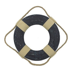 """Handcrafted Model Ships - Vintage Blue Decorative Lifering 10"""" - Vintage Life Ring - This Vintage Blue Decorative Lifering 10"""" will compliment any beach home perfectly. Our authentic rope used to wrap around the nautical lifering brings this beach bedroom accessory to life and will light up your beach living room, beach wedding decorations or beach themed party. Our Life ring decor actions are the perfect choice for any beach setting. We offer over 100 unique decorative life rings sized and priced for everyone's beach wall decor needs. Life ring decor is available in various sizes and styles such as lifering clocks, lifering mirrors, antique life preserver rings and of course the classic traditional decorative life rings, ranging in sizes from 6 to 30 inches."""