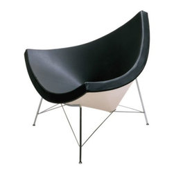 Herman Miller - Nelson Coconut Lounge Chair by Herman Miller - George Nelson was actually inspired by a chunk of coconut in his design of the Nelson™ Coconut Lounge Chair by Herman Miller®. This unique form is also uniquely comfortable, with a thick foam rubber cushion upholstered in supple Black leather and supported by a sturdy molded plastic shell. The wide, shallow sides let you sit still or change positions with ease. Since its early beginnings in 1905 (then known as the Star Furniture Company), Herman Miller has stood as one of the leaders in ergonomic furniture design and manufacture. Today, with a strong focus on designing furnishings with excellent form and function, this Michigan-based company produces a variety of home and office products that improve the human experience wherever people work, create, learn and live.