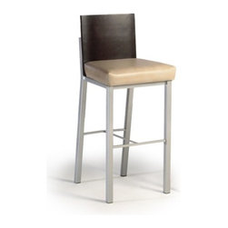 """Createch - Baroni 30"""" Barstool - Features: -Bar height barstool. -Baroni collection. -Steel construction. -Contemporary bar stool with upholstered seat. -Large choice of fabrics is available. -Ultra resistant construction. -Nice choice of metal color. -Backrest part in birch wood veneer. -Many wood colors are available. -Electro - static powder coating. -High temperature baked powder coating finish insure long - lasting. -Non swivel stool, very stable. -Heavy duty commercial product for bars and restaurants. -Customer own material (C.O.M.) accepted. Specifications: -High quality made in North America. -Ten years warranty on welding. -Seat Height: 30"""". -Overall dimensions: 41"""" H x 18"""" W x 16"""" D."""