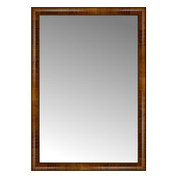 """Posters 2 Prints, LLC - 29"""" x 41"""" Belmont Light Brown Custom Framed Mirror - 29"""" x 41"""" Custom Framed Mirror made by Posters 2 Prints. Standard glass with unrivaled selection of crafted mirror frames.  Protected with category II safety backing to keep glass fragments together should the mirror be accidentally broken.  Safe arrival guaranteed.  Made in the United States of America"""