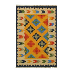 Pre-owned Bright Multi-Color Geometric Kilim Rug - This vintage Turkish kilim with a bright, playful geometric design is the perfect rug to put in the kitchen, entryway, or bedroom. The classic print will fit in with a traditional and refined home as well as a funky, eclectic home or anything in between! Layer it with a jute rug for a unique, creative look that will also add a casual touch.