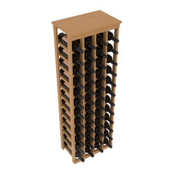 "48 Bottle Kitchen Wine Rack in Pine with Oak Stain + Satin Finish - Store 4 complete cases of wine in less than 20"" of wall space. Just over 4 feet tall, this narrow wine rack fits perfectly in hallways, closets and other ""catch-all"" spaces in your home or den. The solid wood top serves as a shelf or table top for added convenience and storage of nick-nacks."