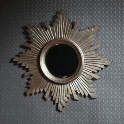 Star Burst Antique Wooden Mirror-Ant Silver
