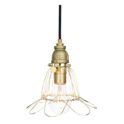 Industrial Rustic Pipe Cage Pendant Light – Brass