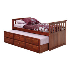 Chelsea Home Furniture - Chelsea Home Twin Mission Style Captains Bed with Trundle and Storage in Dark - Providing home elegance in upholstery products such as recliners, stationary upholstery, leather, and accent furniture including chairs, chaises, and benches is the most important part of Chelsea Home Furniture's operations. Bringing high quality, classic and traditional designs that remain fresh for generations to customers' homes is no burden, but a love for hospitality and home beauty. The majority of Chelsea Home Furniture's products are made in the USA, while all are sought after throughout the industry and will remain a staple in home furnishings.