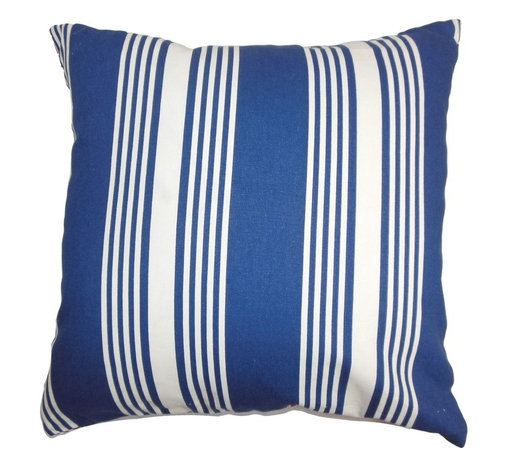 """The Pillow Collection - Perri Stripes Pillow Blue White 18"""" x 18"""" - Make an eye-catching decor theme by adding this throw pillow in your living room or bedroom. This square pillow features a combination of color colors in blue and white. This 18"""" pillow provides a polished and sleek look to your interiors. It's ideal for summertime with its nautical-inspired color and design. Made of 100% soft cotton fabric. Hidden zipper closure for easy cover removal.  Knife edge finish on all four sides.  Reversible pillow with the same fabric on the back side.  Spot cleaning suggested."""