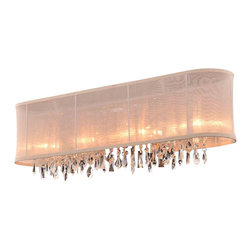 "Joshua Marshal Collection - 4 Light 29'' Linear Wall Sconce Lighting Fixture with Crystal and Oyster Shade - Once its overwhelming unique beauty greets you, it's no surprise why our Crystal Fusion Design is our fastest selling collection yet. Beautifully cut european crystal are draped over a polished chrome base which will enhance and add a sophisticated look to any room. This design truly is a fusion of traditionally cut crystals blended with a contemporary atmosphere to create dramatic lighting effects for a chic, stylized environment. The combination of light and crystal breathes life and energy into any space. This beautiful fixture is 29"" wide by 10"" tall (adjustable height)."