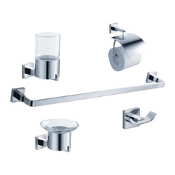 "Fresca - Fresca Glorioso 5-Piece Bathroom Accessory Set - Chrome - Fresca Glorioso 24"" Towel Bar (FAC1137) - Dimensions:  23.75""W x 3""D x 1.5""H. Fresca Glorioso Soap Dish (Wall Mount) (FAC1103) - Dimensions:  4.25""W x 5""D x 3""H. Fresca Glorioso Tumbler Holder (FAC1110) - Dimensions:  2.5""W x 4.5""D x 5""H. Fresca Glorioso Toilet Paper Holder (FAC1126) - Dimensions:  5.5""W x 3""D x 6""H. Fresca Glorioso Robe Hook (FAC1102) - Dimensions:  3""W x 1.75""D x 1.5""H. Heavy Duty Brass with Triple Chrome Finish. . . All of our Fresca bathroom accessories are made with brass with a triple chrome finish and have been chosen to compliment our other line of products including our vanities, faucets, shower panels and toilets.  They are imported and selected for their modern, cutting edge designs."