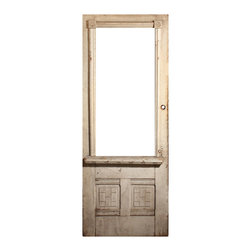 """Antique Doors - Wonderful antique Eastlake door, salvaged from a home built in the 1880's. The door features eye-catching details, including grooved details and two lower panels accented with a geometric  brick pattern. The door is in very good antique condition with the expected wear and does not have glass. This reclaimed door measures 32"""" wide, 83"""" tall, and 1-7/16"""" thick (not including surface trim)."""