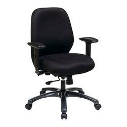Office Star - Pro-Line II 54666 Series 24 Hour Ergonomic Chair with 2-to-1 Synchro Tilt - 24 hour ergonomic chair with 2-to-1 synchro tilt with seat slider, 2-way adjustable arms and titanium finish aluminum base