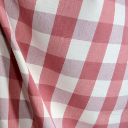 """Roth - DL72 Lyme Strawberry Check Plaid Fabric By The Yard - Lyme Strawberry by Roth & Tompkins Textiles is a 100% cotton 1 5/8"""" red and cream check fabric."""