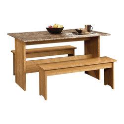 Sauder - Sauder Beginnings Trestle Table with Benches in Highland Oak - Sauder - Dining Sets - 413421